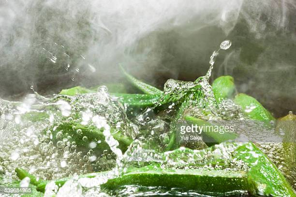 Boiling  okra close up