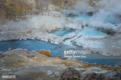 Boiling Volcanic Hot Creek Geological Site near Mammoth Lakes on a Winter Morning