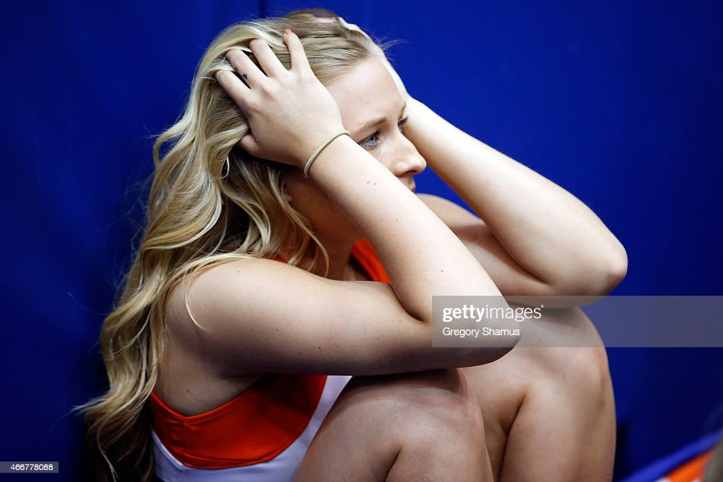Boise State Broncos cheerleader reacts after losing to the Dayton Flyers 5655 during the first round of the 2015 NCAA Men's Basketball Tournament at...