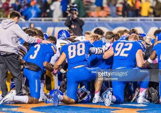 Boise State Broncos quarterback Montell Cozart Boise State Broncos tight end Jake Roh and Boise State Broncos defensive tackle Paul Semons join...