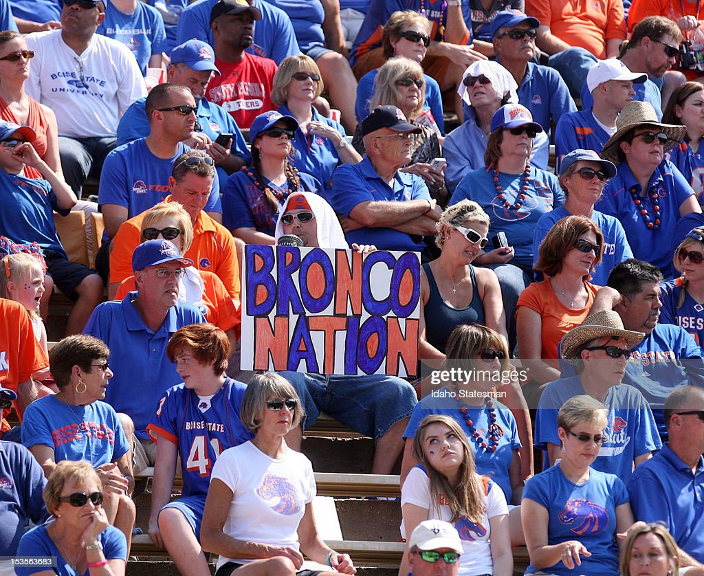 Boise State fans root for their team during the game against the Southern Miss Golden Eagles at Roberts Stadium in Hattiesburg, Mississippi, Saturday, October 6, 2012. Boise State defeated Southern Miss, 40-14.