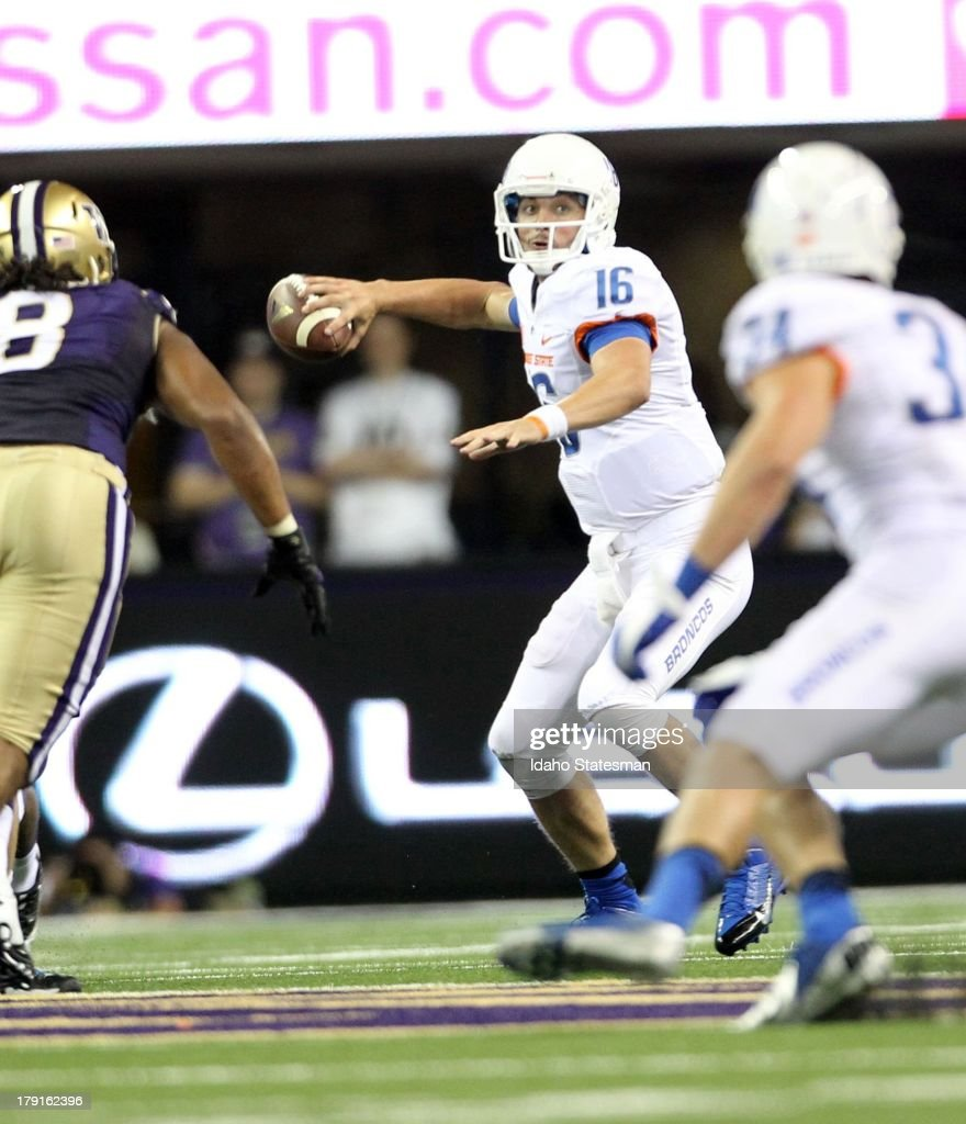 Boise State quarterback Joe Southwick finds Kirby Moore for a first down in the second half against Washington at Husky Stadium in Seattle Washington...