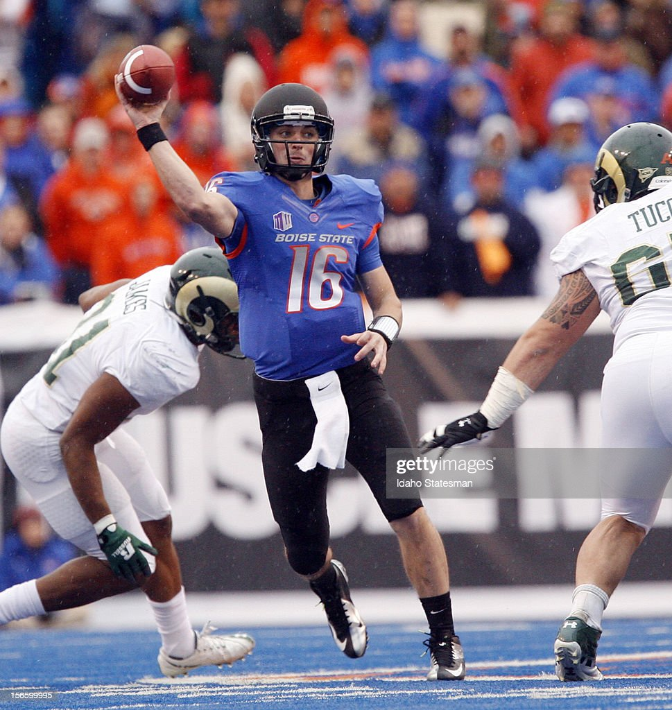 Boise State quarterback Joe Southwick looks for a receiver downfield against Colorado State at Bronco Stadium in Boise Idaho on Saturday November 17...