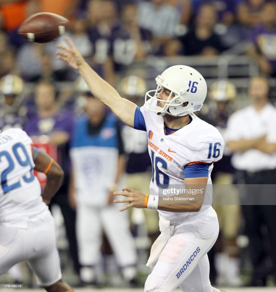 Boise State quarterback Joe Southwick throws downfield against Washington at Husky Stadium in Seattle Washington on Saturday August 31 2013