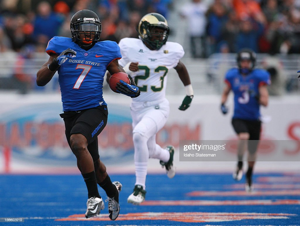 Boise State's D.J. Harper runs 80 yards for a touchdown on the first play of scrimmage against Colorado State at Bronco Stadium in Boise, Idaho, on Saturday, November 17, 2012. The Broncos won, 42-14.