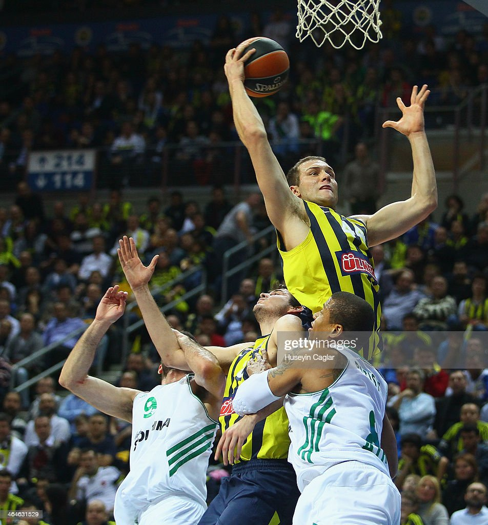Bojan Bogdanovic #44 of Fenerbahce Ulker Istanbul competes with Mike Batiste #8 of Panathinaikos Athens in action during the 20132014 Turkish...