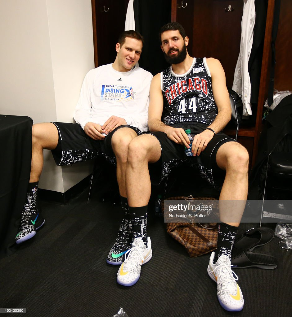 Bojan Bogdanovic #44 and Nikola Mitotic #44 of the World Team smile before playing a game against the U.S. Team during the BBVA Compass Rising Stars Challenge as part of 2015 All-Star Weekend on February 13, 2015 at Barclays Center in Brooklyn, New York.
