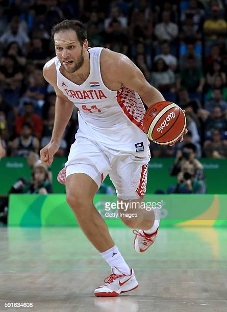 Bojan Bogdanovic of Croatia drives to the basket during a quarterfinal match against Serbia on August 17 2016 in Rio de Janeiro Brazil