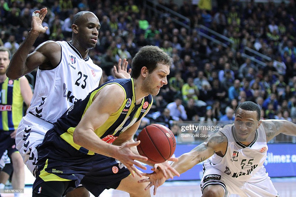 Bojan Bogdanovic #44 of Fenerbahce Ulker Istanbul competes with Curtis Jerrels #55 and Patrick Christopher #23 of Besiktas JK Istanbul during the 2012-2013 Turkish Airlines Euroleague Top 16 Date 7 between Fenerbahce Ulker Istanbul v Besiktas JK Istanbul at Fenerbahce Ulker Sports Arena on February 15, 2013 in Istanbul, Turkey.