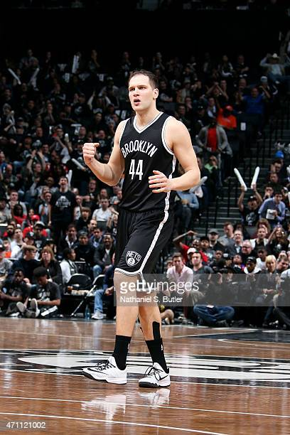 Bojan Bogdanovic of the Brooklyn Nets celebrates during a game against the Atlanta Hawks in Game Three of the Eastern Conference Quarterfinals during...