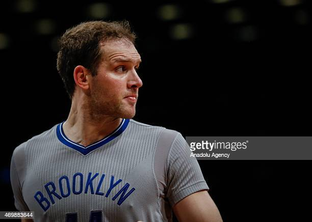 Bojan Bogdanovic of the Brooklyn Nets during an NBA basketball game against the Orlando Magic at the Barclays Center in the Brooklyn borough of New...