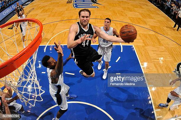 Bojan Bogdanovic of the Brooklyn Nets goes for the layup against the Orlando Magic during the game on December 30 2015 at Amway Center in Orlando...