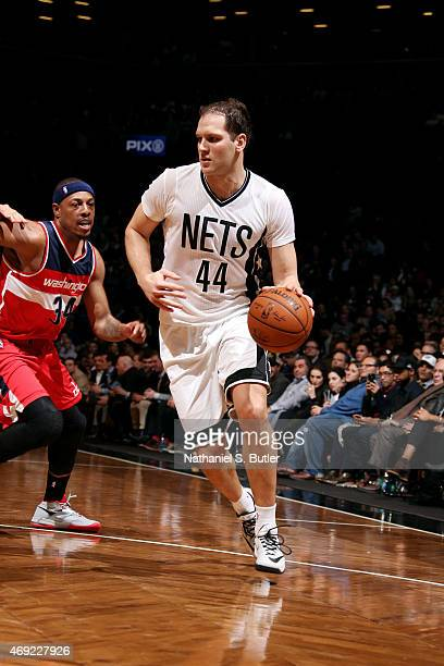 Bojan Bogdanovic of the Brooklyn Nets handles the ball against the Washington Wizards on April 10 2015 at the Barclays Center in the Brooklyn borough...