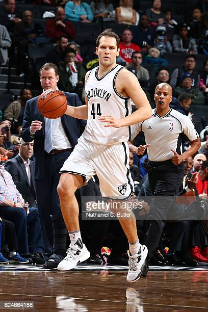 Bojan Bogdanovic of the Brooklyn Nets handles the ball against the Portland Trail Blazers on November 20 2016 at Barclays Center in Brooklyn New York...