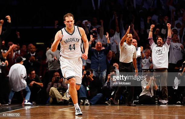Bojan Bogdanovic of the Brooklyn Nets in action against the Atlanta Hawks during game four in the first round of the 2015 NBA Playoffs at Barclays...