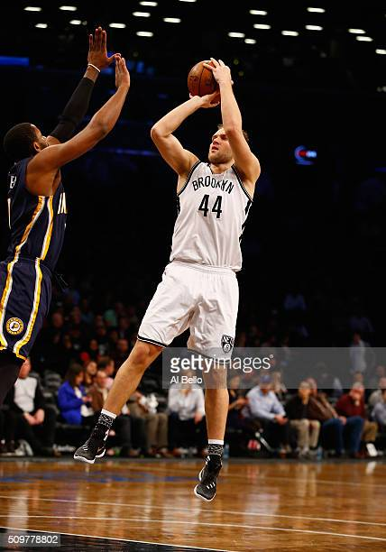 Bojan Bogdanovic of the Brooklyn Nets in action against the Indiana Pacers during their game at the Barclays Center on February 3 2016 in New York...