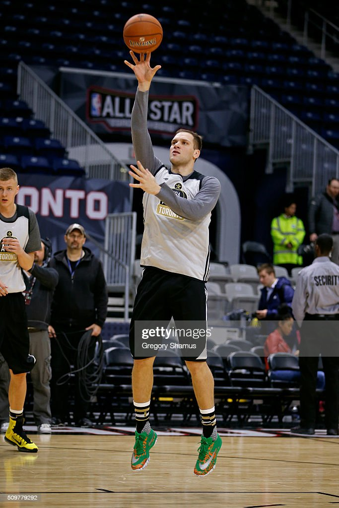 Bojan Bogdanovic #44 of the Brooklyn Nets participates during the BBVA Rising Stars Challenge Practice as part of 2016 All-Star Weekend at NBA Centre Court of the Enercare Centre on February 12, 2016 in Toronto, Ontario, Canada.