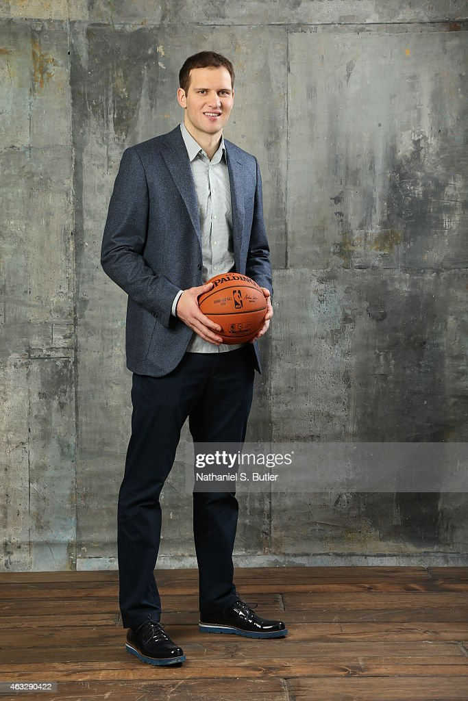 Bojan Bogdanovic of the Brooklyn Nets poses for portraits during the NBAE Circuit as part of 2015 All-Star Weekend at the Sheraton Times Square Hotel on February 12, 2015 in New York, New York.