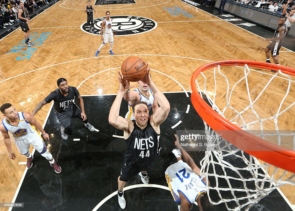 Bojan Bogdanovic #44 of the Brooklyn Nets shoots during a game against the Golden State Warriors on December 22, 2016 at Barclays Center in Brooklyn, NY.