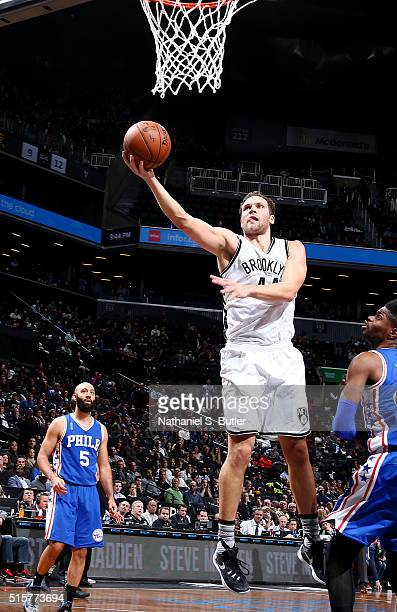 Bojan Bogdanovic of the Brooklyn Nets shoots the ball against the Philadelphia 76ers on March 15 2016 at Barclays Center in Brooklyn New York NOTE TO...