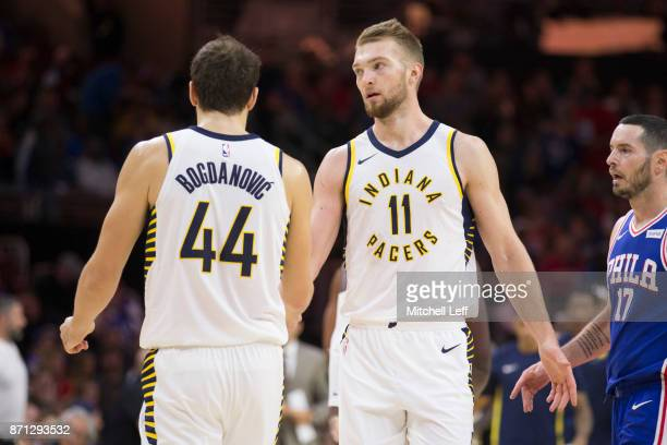 Bojan Bogdanovic of the Indiana Pacers celebrates with Domantas Sabonis against the Philadelphia 76ers at the Wells Fargo Center on November 3 2017...