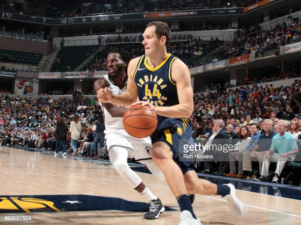 Bojan Bogdanovic of the Indiana Pacers drives to the basket against the Brooklyn Nets on October 18 2017 at Bankers Life Fieldhouse in Indianapolis...