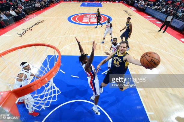 Bojan Bogdanovic of the Indiana Pacers drives to the basket against the Detroit Pistons on November 8 2017 at Little Caesars Arena in Detroit...