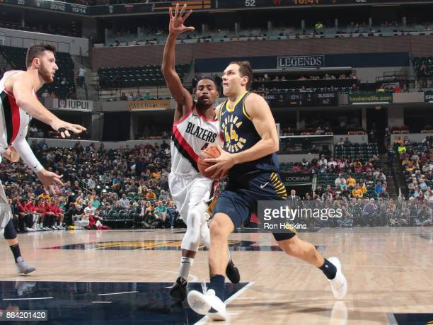 Bojan Bogdanovic of the Indiana Pacers handles the ball against the Portland Trail Blazers on October 20 2017 at Bankers Life Fieldhouse in...