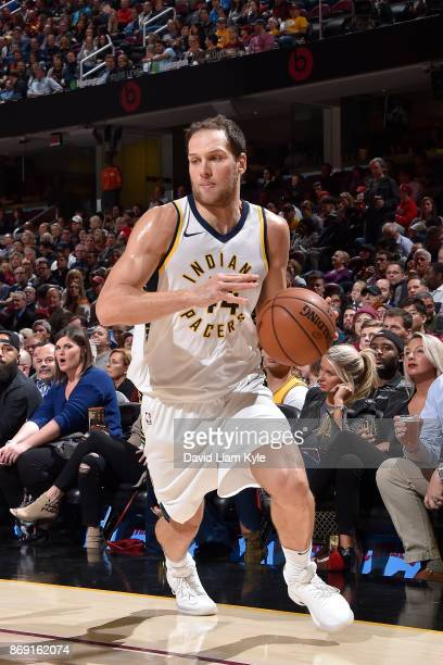 Bojan Bogdanovic of the Indiana Pacers handles the ball against the Cleveland Cavaliers on November 1 2017 at Quicken Loans Arena in Cleveland Ohio...