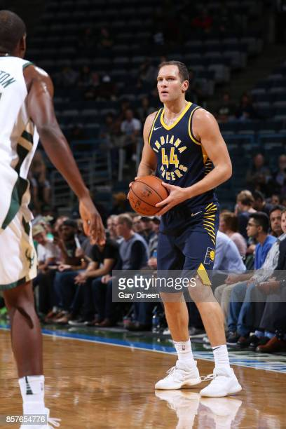 Bojan Bogdanovic of the Indiana Pacers handles the ball during a preseason game against the Milwaukee Bucks on October 4 2017 at the BMO Harris...