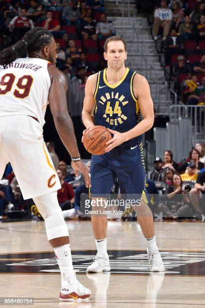 Bojan Bogdanovic of the Indiana Pacers handles the ball during the preseason game against the Cleveland Cavaliers on October 6 2017 at Quicken Loans...