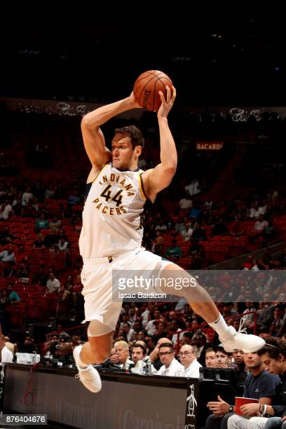 Bojan Bogdanovic of the Indiana Pacers handles the ball during the game against the Miami Heat on November 19 2017 at American Airlines Arena in...