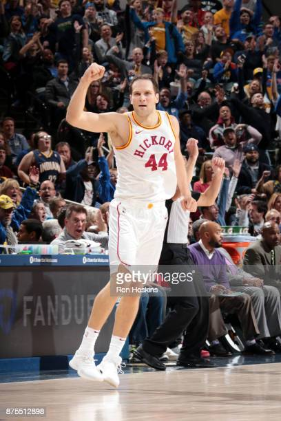 Bojan Bogdanovic of the Indiana Pacers reacts during the game against the Detroit Pistons on November 17 2017 at Bankers Life Fieldhouse in...