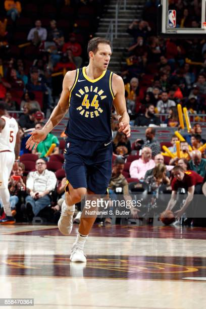 Bojan Bogdanovic of the Indiana Pacers reacts during the preseason game against the Cleveland Cavaliers on October 6 2017 at Quicken Loans Arena in...