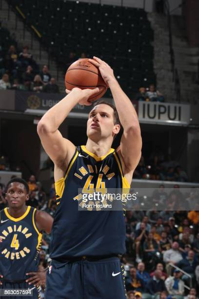 Bojan Bogdanovic of the Indiana Pacers shoots a free throw against the Brooklyn Nets on October 18 2017 at Bankers Life Fieldhouse in Indianapolis...