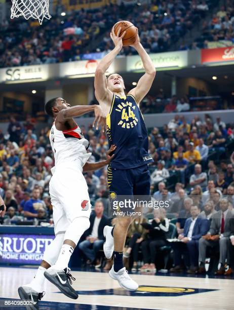 Bojan Bogdanovic of the Indiana Pacers shoots the ball against the Portland Trailblazers at Bankers Life Fieldhouse on October 20 2017 in...