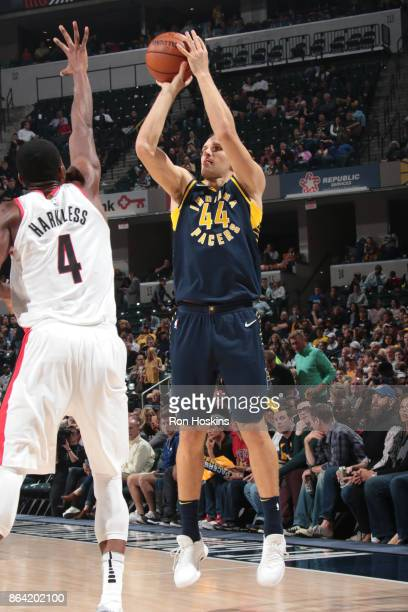 Bojan Bogdanovic of the Indiana Pacers shoots the ball against the Portland Trail Blazers on October 20 2017 at Bankers Life Fieldhouse in...