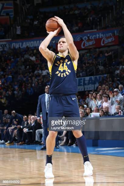 Bojan Bogdanovic of the Indiana Pacers shoots the ball against the Oklahoma City Thunder on October 25 2017 at Chesapeake Energy Arena in Oklahoma...
