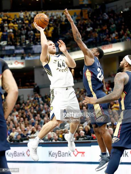 Bojan Bogdanovic of the Indiana Pacers shoots the ball against the New Orleans Pelicans at Bankers Life Fieldhouse on November 7 2017 in Indianapolis...