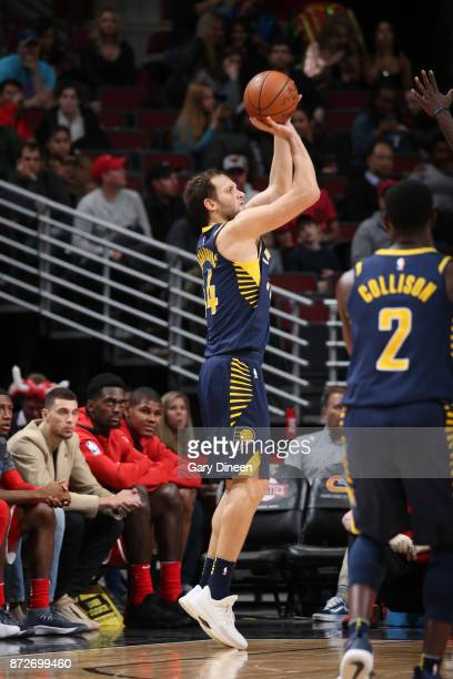 Bojan Bogdanovic of the Indiana Pacers shoots the ball against the Chicago Bulls on November 10 2017 at the United Center in Chicago Illinois NOTE TO...