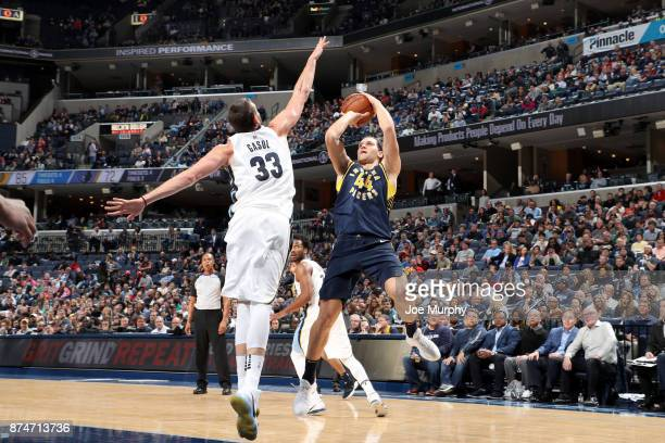Bojan Bogdanovic of the Indiana Pacers shoots the ball against the Memphis Grizzlies on November 15 2017 at FedExForum in Memphis Tennessee NOTE TO...