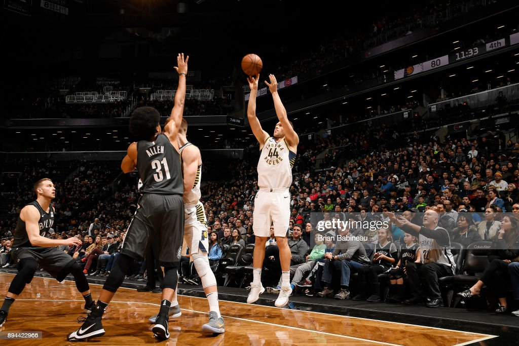 Bojan Bogdanovic #44 of the Indiana Pacers shoots the ball against the Brooklyn Nets on December 17, 2017 at Barclays Center in Brooklyn, New York.