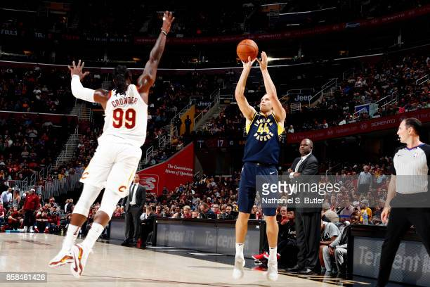 Bojan Bogdanovic of the Indiana Pacers shoots the ball during the preseason game against the Cleveland Cavaliers on October 6 2017 at Quicken Loans...