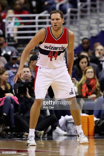 Bojan Bogdanovic of the Washington Wizards follows the play against the Utah Jazz in the first half at Verizon Center on February 26 2017 in...