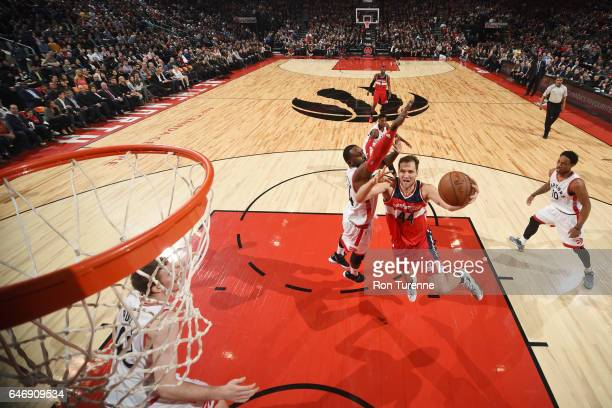 Bojan Bogdanovic of the Washington Wizards goes for a lay up against the Toronto Raptors during the game on March 1 2017 at the Air Canada Centre in...
