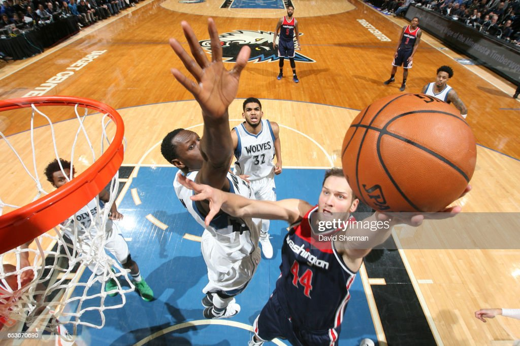 Bojan Bogdanovic #44 of the Washington Wizards goes up for a shot during a game against the Minnesota Timberwolves on March 13, 2017 at Target Center in Minneapolis, Minnesota.