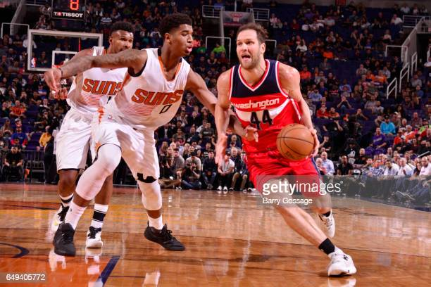 Bojan Bogdanovic of the Washington Wizards handles the ball against the Phoenix Suns during the game on March 7 2017 at Talking Stick Resort Arena in...