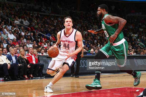 Bojan Bogdanovic of the Washington Wizards handles the ball against the Boston Celtics in Game Three of the Eastern Conference Semifinals of the 2017...