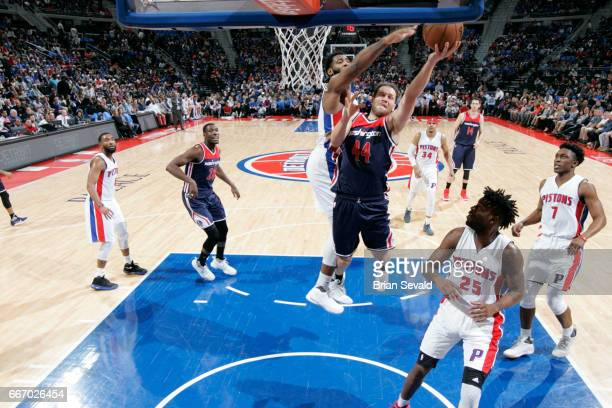 Bojan Bogdanovic of the Washington Wizards shoots the ball against the Detroit Pistons on April 10 2017 at The Palace of Auburn Hills in Auburn Hills...