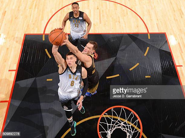 Bojan Bogdanovic of the World Team blocks the shot during the BBVA Compass Rising Stars Challenge as part of the 2016 NBA All Star Weekend on...
